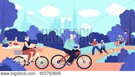 Old People In Park. Active Elderly, Seniors Walking Dog On Nature. Retired Couple Relax On Picnic, H