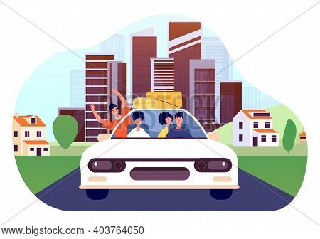 Friends Car Trip. Young Excited Drivers, Joy Man Woman Go To Vacations. Auto Tourism, Road Way From