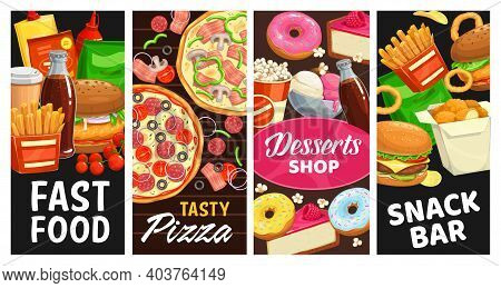 Fast Food And Snack Bar Desserts Vector Street Meals Burgers, Donuts And Popcorn, French Fries And S
