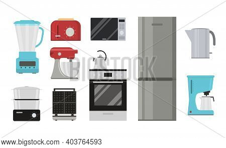 Cartoon Color Household Appliances Icon Set Include Of Refrigerator, Oven And Cooker Concept Flat De
