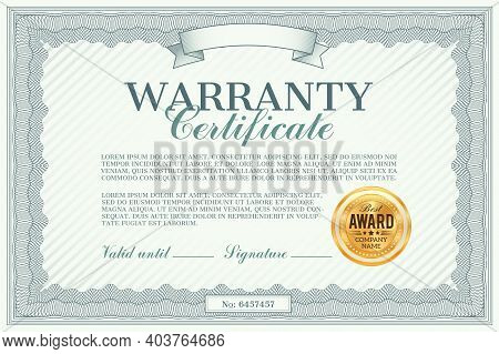 Warranty Certificate Vector Template. Guarantee Of Quality And Customer Satisfaction With Best Award