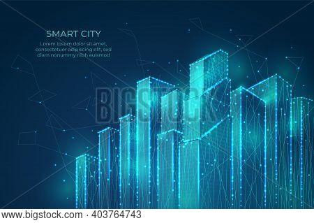 Technology City Background. Building Shapes, Smart Digital Tech Cityscape. Flow Lines Points Network