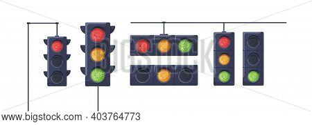 Set Of Traffic Lights With Red, Yellow And Green Signals. Stoplights With Prohibitory, Allowing And