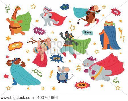Animal Superhero. Cartoon Child Animals, Hero Costume On Cat Giraffe. Brave Wild Bear Wolf, Wild Cha