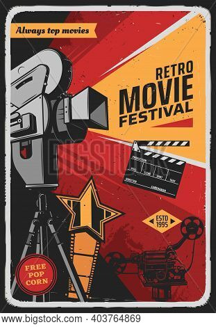 Retro Movie Festival Vector Poster With Vintage Video Camera, Film Reel, Award Star And Clapper. Fil