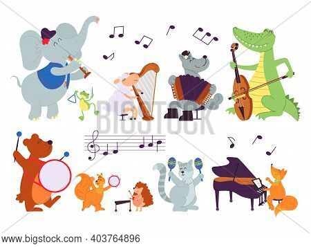 Animals With Instruments. Wild Music Characters, Sheep Play In Orchestra. Baby Cartoon Musicians, Co