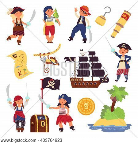 Kids Pirates Characters. Cartoon Funny Children, Ocean Adventures Collection. Ship Treasure Map, Hoo
