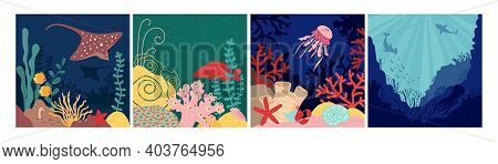 Sea World Background. Underwater Life, Natural Fish In Aquarium. Nautical Landscape With Cartoon She
