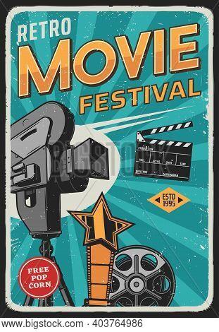 Movie And Cinema Film Festival Retro Poster, Vector, Video Projector And Camera In Spotlight. Retro