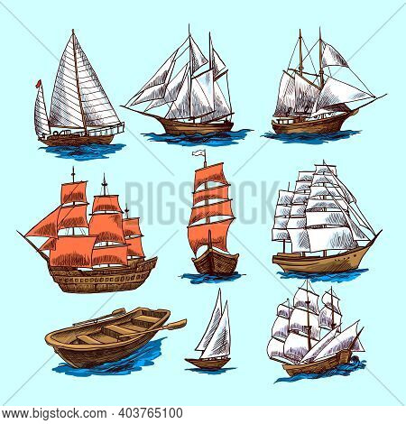 Sailing Tall Ships Yachts And Boat Colored Sketch Decorative Elements Isolated Vector Illustration