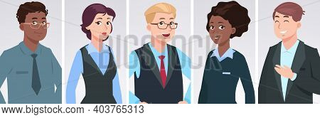 Professionals Portraits. Diverse Business People, Ethnically Mixed Happy Persons. Office Managers Ch