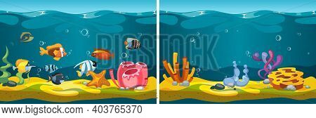 Underwater World. Cartoon Fish, Corals Seaweed Plants. Sea Life, Ocean Flora Fauna Game Locations Ve