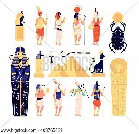 Egyptian Elements. Ancient Egypt Gods, Goddess Mythology Sculpture. Flat Pyramid, Isolated Historica