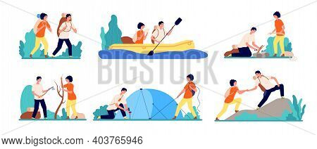 Friends Travel Adventures. Hiking Tourist, Man Boating On River Travelling. Adults Journey Camping,