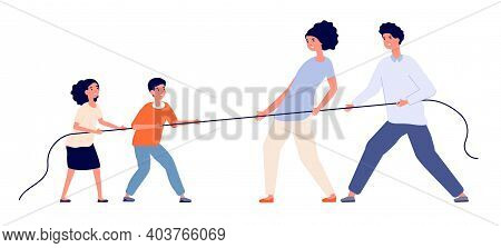 Family Game. Child Parents Pull Rope, Tug Of War Play Adults Children. Relationship Balance Or Gener