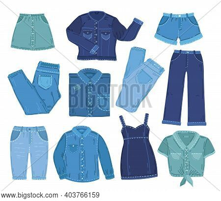 Denim Clothes. Fashion Jeans Clothing, Isolated Jacket Pants Shirt. Overall Outfit, Blue Fabric Summ