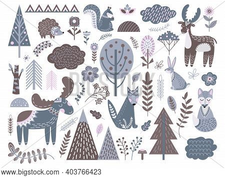 Scandinavian Forest. Fashion Nordic Graphic, Cute Animals Floral Elements. Baby Swedish Modern Tree