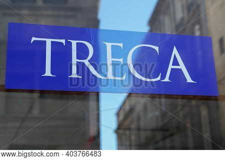 Bordeaux , Aquitaine  France - 01 10 2021 : Treca Logo Sign In Storefront Of Manufacturer And Distri