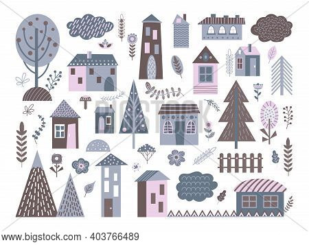 Cute Scandinavian Buildings. Abstract Architecture, City Landscape Elements. Isolated Nordic Village