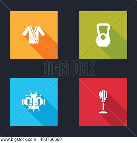Set Japanese Costume Kimono, Kettlebell, Punch In Boxing Gloves And Punching Bag Icon. Vector