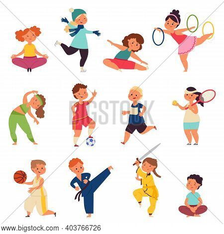Different Sport Kids. Physical Activity Characters, Small Children Doing Exercise. Kid Gym, Toddler