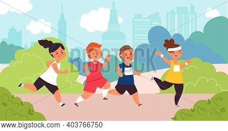 Children Marathon. Kids Run, Speed Race Boy. Outdoor Running Competition, Little Athlete Sport Chall