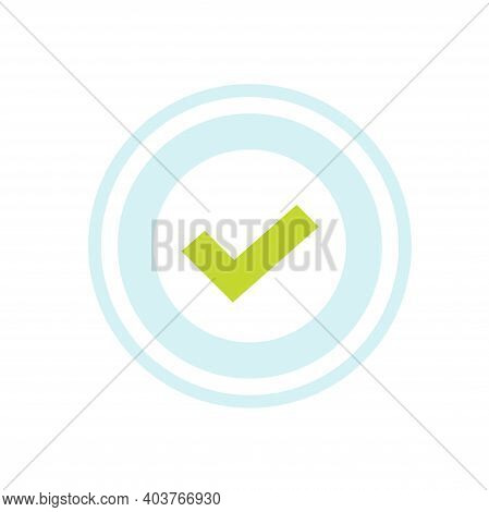 Check Mark Approval Stamp Icon Vector Isolated, Concept Of Verified Guarantee Or Recommended Seal La