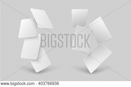 Falling Paper Cards. White Business Card, 3d Mock Up Empty Gift Vouchers. Blank Flying Identity Bann