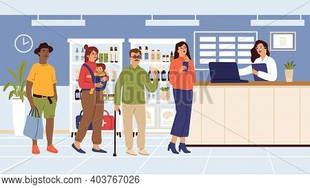 Pharmacy. People Need Medications, Queue. Pharmacist At Laptop, Woman Man In Waiting Line For Buying