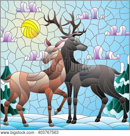 Illustration In Stained Glass Style With A Pair Of Deer On The Background Of A Winter Landscape