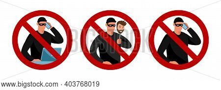 Scammers And Prohibition Sign. Conceptual Flat Vector Illustration. Cybercrime Warning, Fishing, Pho