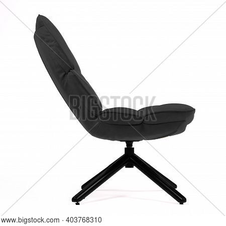 Modern Black Suede Lounge Chair Isolated On White Background