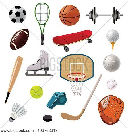Sports Equipment Decorative Icons Set With Game Balls Rackets And Accessories Isolated Vector Illust
