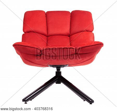 Modern Red Suede Lounge Chair Isolated On White Background