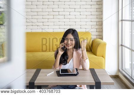 Startup Successful Entrepreneur Small Business Woman Online Using Laptop Receive Order From Customer