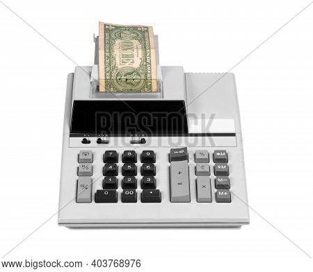 Old Fashioned Calculator And One Dollar, Isolated On White