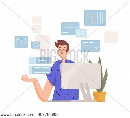 Thoughtful Man Working At Computer. Programmer Coding And Concerning About Solving Difficult Tasks.