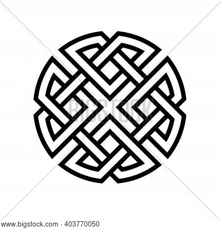 Round Celtic Knot Ethno Pattern, Vector Weave Knitted Lines Stripes Knot Health Development And Good