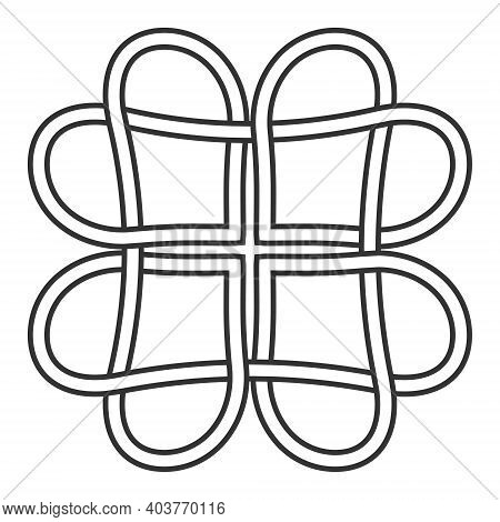 Celtic Knot Of Hearts Pattern, Vector Knot Hearts Symbol Of Eternal Love Tattoo