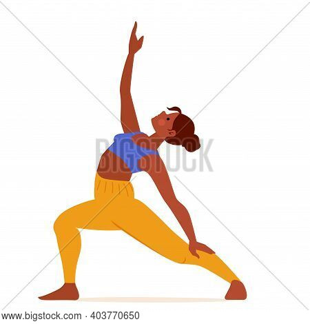 Young Woman Practicing Yoga Reverse Peaceful Warrior Pose. Cartoon Girl Wokout. Isolated On White Ve