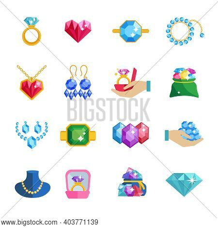 Precious Jewels Beautiful Luxury Accessories And Adornments Icons Flat Set Isolated Vector Illustrat