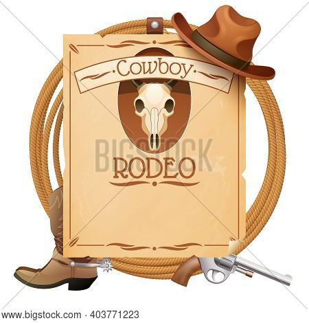 Rodeo Retro Wild West Poster With Cowboy Hat Boots And Gun Vector Illustration