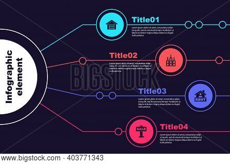 Set Garage, Skyscraper, Hanging Sign With Rent And Sale. Business Infographic Template. Vector