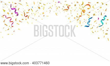 Vector Abstract Background With Many Falling Tiny Colorful Confetti Pieces And Ribbon. Carnival, Chr
