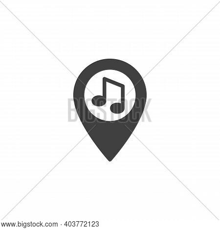 Party Location Pin Vector Icon. Filled Flat Sign For Mobile Concept And Web Design. Map Maker With M