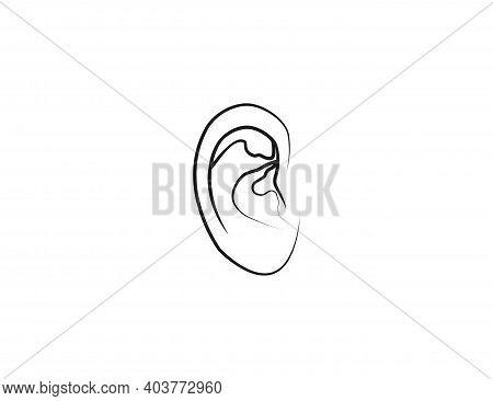 Human Ear, Anatomy Icon. Vector Illustration, Flat.
