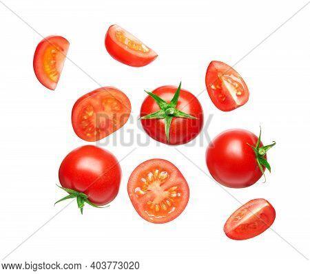 Set Of Fresh Tomato Isolated On White Background