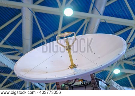 White Rotating Satellite Dish Antenna, Vsat Parabolic Receiver Using To Receive Or Transmit Informat