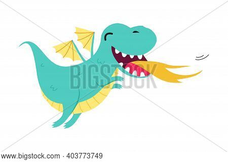 Cute Little Baby Dragon Spitting Fire, Funny Fantastic Creature Fairy Tale Character Cartoon Style V