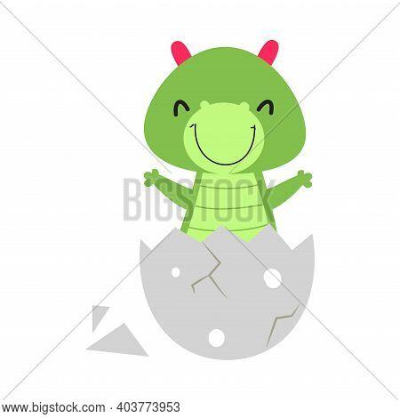 Cute Happy Little Green Dragon Sitting In Eggshell, Funny Baby Dinosaur, Fairy Tale Character Cartoo